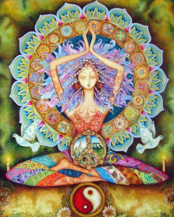woman yinyang lotus