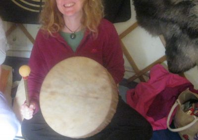 Making my shamanic drum